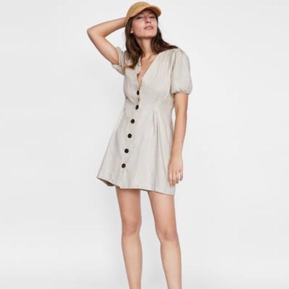 83e2cf9d NWOT Zara linen button dress. M_5afb157b6bf5a65556ee2c8b